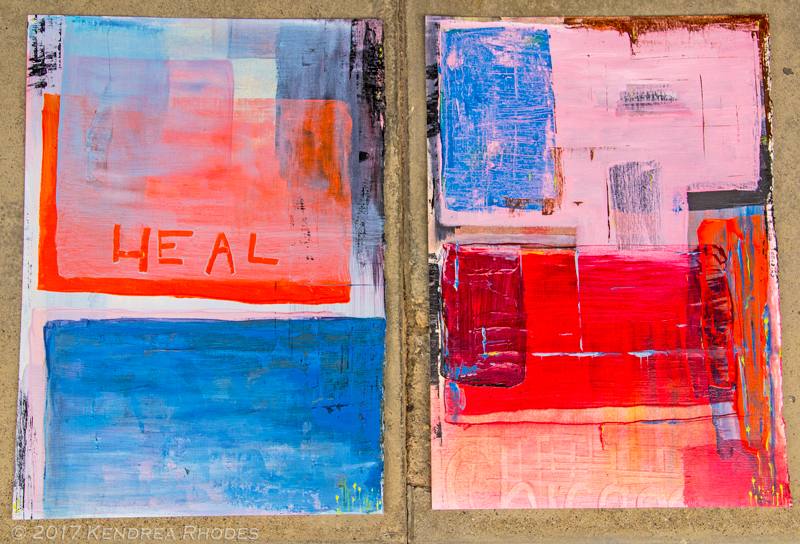Heal Chicago diptych, Oil paint on canvas paper by Kendrea Rhodes